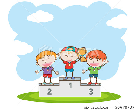 Doodle Kids Winning Sport Competition 56678737