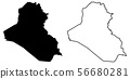 Simple (only sharp corners) map of Iraq vector 56680281
