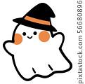 戴帽子萬聖夜的逗人喜愛的鬼魂 56680896