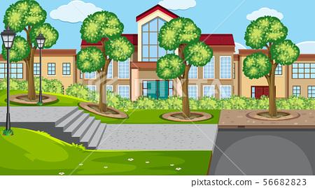 An outdoor scene with school 56682823