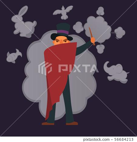 Magic show poster design vector illustration. Magician making illusion of animals from smoke. Magic 56684213