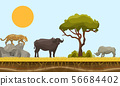 Savannah animals in Africa vector landscape with baobab and under earth surface layer, bull, gepard 56684402