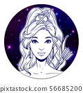 Sagittarius zodiac sign artwork, beautiful girl 56685200