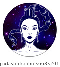 Scorpio zodiac sign artwork, beautiful girl face, 56685201