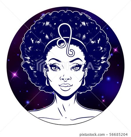 Leo zodiac sign artwork, beautiful girl face, 56685204
