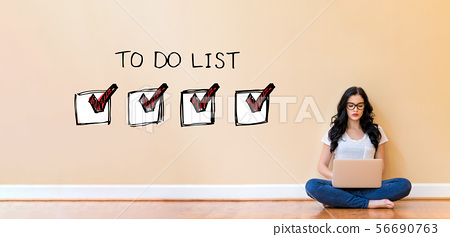 To do list with woman using a laptop 56690763