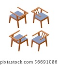 Isometric modern chair for hotel. Vector furniture 56691086
