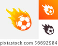 Soccer ball in fire flame. Football fireball cartoon icon. Fast ball logo in motion isolated 56692984