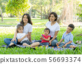 Beautiful young asian parent family portrait 56693374