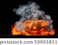 Halloween pumpkin with smoke. 56693831