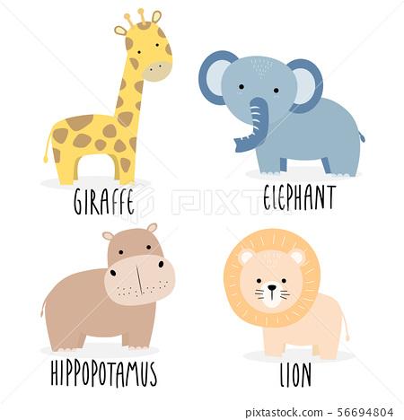 Cute safari animals set cartoon doodle element 56694804