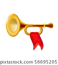 Realistic 3d Fanfare gold trumpet, icon 56695205