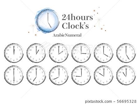時尚手繪24小時制_阿拉伯數字 56695328