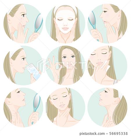 피부 관리를하고있는 여성의 일러스트 56695338