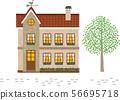 유럽풍의 주택. 벡터 이미지 56695718