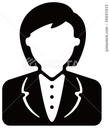 Worker icon illustration (female) / office worker, OL 56697835