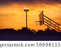 silhouette of outdoor basketball court  56698133