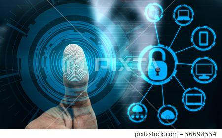 Fingerprint Biometric Digital Scan Technology. 56698554
