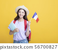Young asian girl  student showing the  France flag 56700827