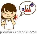 여성 표정 치통 스마트 폰 56702259
