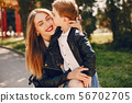 Mother with son playing in a summer park 56702705
