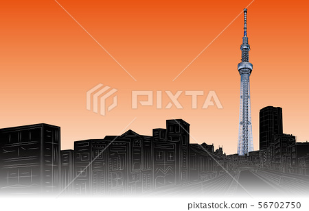 Tokyo sky tree sunset right in Japan 56702750