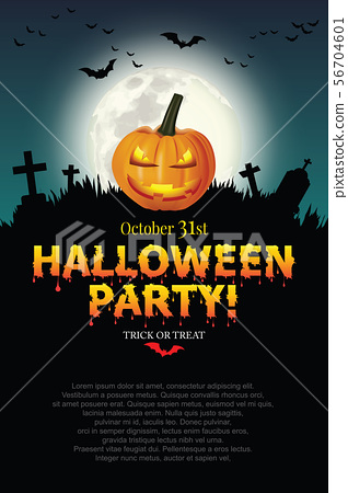 Halloween party poster with Pumpkin ghost. 56704601