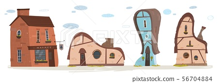 Flat Country Buildings, Market, House Cartoon Set 56704884