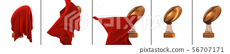 Bronze Rugby Cup hidden with a Red fabric appear 56707171