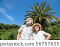 熱帶手段資深夫婦國內旅行暑假棕櫚樹藍天 56707635