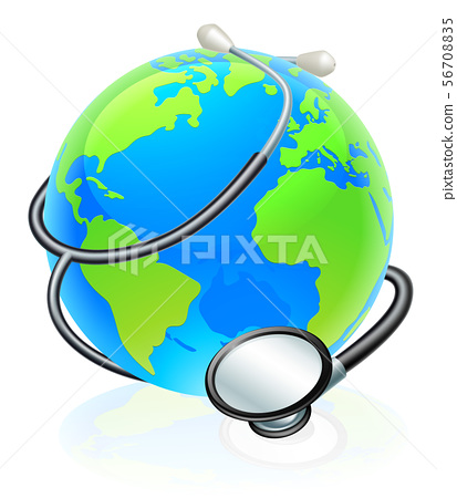 Earth World Health Day Stethoscope Globe Concept 56708835