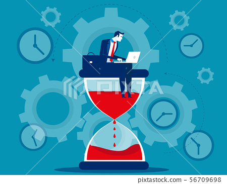 Time management. Businessman sitting on hourglass. 56709698