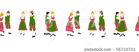 Oktoberfest dancing couple seamless border. Vector illustration. Beer festival party repeating 56710731