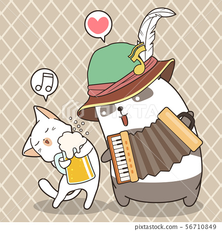 Adorable panda is playing accordion with cute cat  56710849