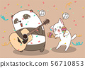 Kawaii panda and cat are playing music instrument 56710853