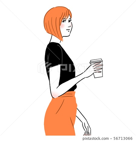A young woman drinking coffee 56713066