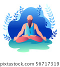 A man sitting in a lotus position. Vector 56717319