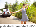 Young multiethnic international couple traveling on the car in sunny day 56717855