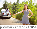 Young multiethnic international couple traveling on the car in sunny day 56717856