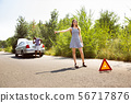 Young multiethnic international couple traveling on the car in sunny day 56717876