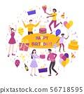 Birthday Flat Composition 56718595