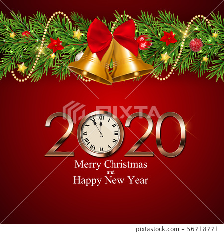 Merry Christmas and New Year Background. Vector 56718771
