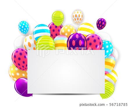 Glossy Happy Birthday Balloons Background Vector 56718785