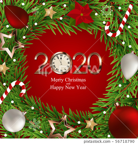 Merry Christmas and New Year Background. Vector 56718790