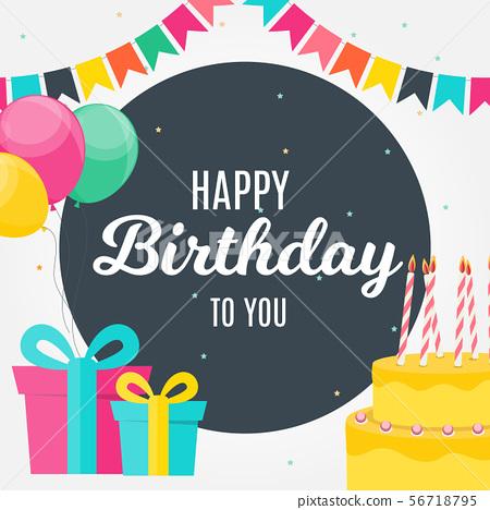 Glossy Happy Birthday Balloons Background Vector 56718795