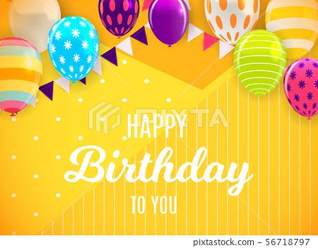 Glossy Happy Birthday Balloons Background Vector 56718797