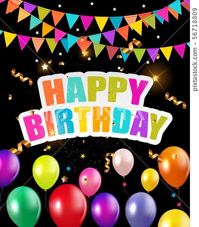 Glossy Happy Birthday Balloons Background Vector 56718809