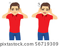 Man hearing with both hands listening asking 56719309