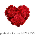 Rose Heart Realistic Composition 56719755