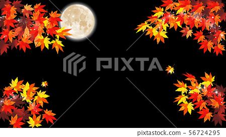 月光下的夜晚,透過秋天的葉子一瞥 56724295